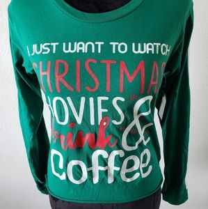 """On Fire Tops - B2G1 NWT Holiday """"Watch Christmas Movies"""" LS Top"""